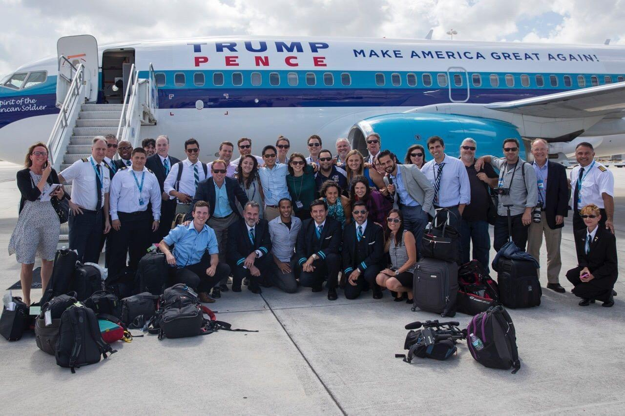 NPR's Sarah McCammon with other reporters covering the Trump campaign in 2016