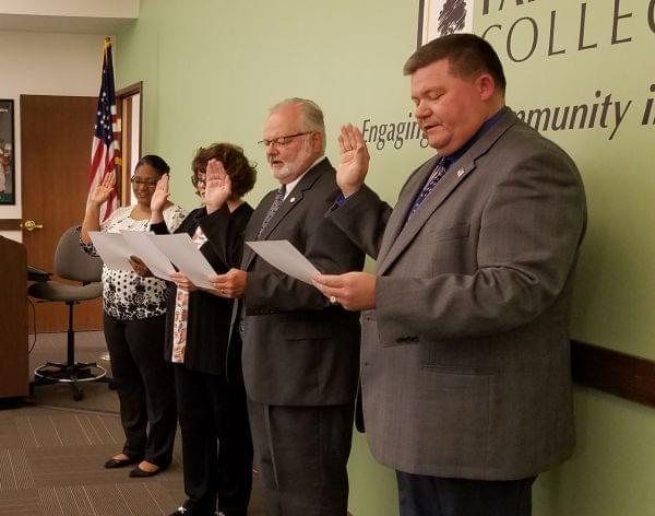 Parkland Trustees being sworn in: Rochelle Harden, Bianca Green, Dana Trimble and Greg Knott.