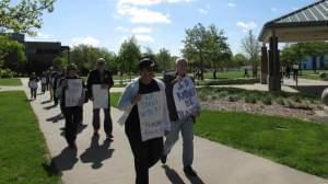 Professors picketing at the University of Illinois-Springfield.