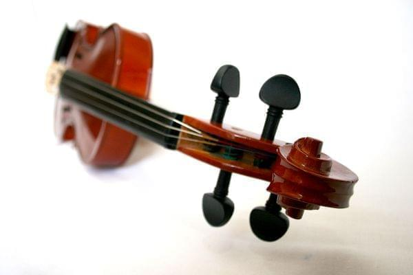 the scroll end of a violin