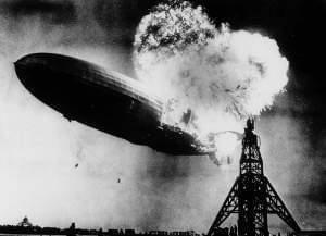 Explosion and crash of the airship Hindenburg on May 6, 1937 at Lakehurst, New Jersey.