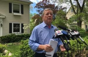 U.S. Sen. Dick Durbin speaks with reporters outside his home in Springfield, Illinois on Sunday, May 7, 2017.