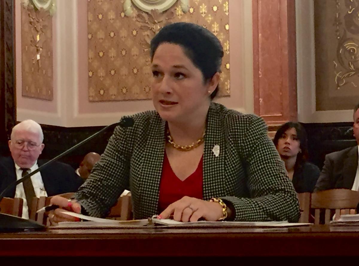 Illinois Comptroller Susana Mendoza testifies at a legislative hearing on Tuesday May 9.