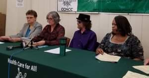 Participants in news conference held by Champaign County Health Care Consumers