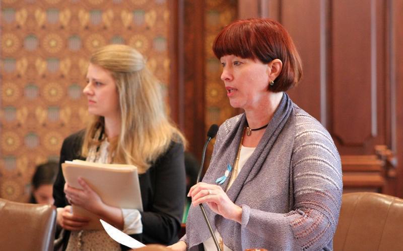 Sen. Heather Steans, a Democrat from Chicago, debates legislation on May 10, 2017.