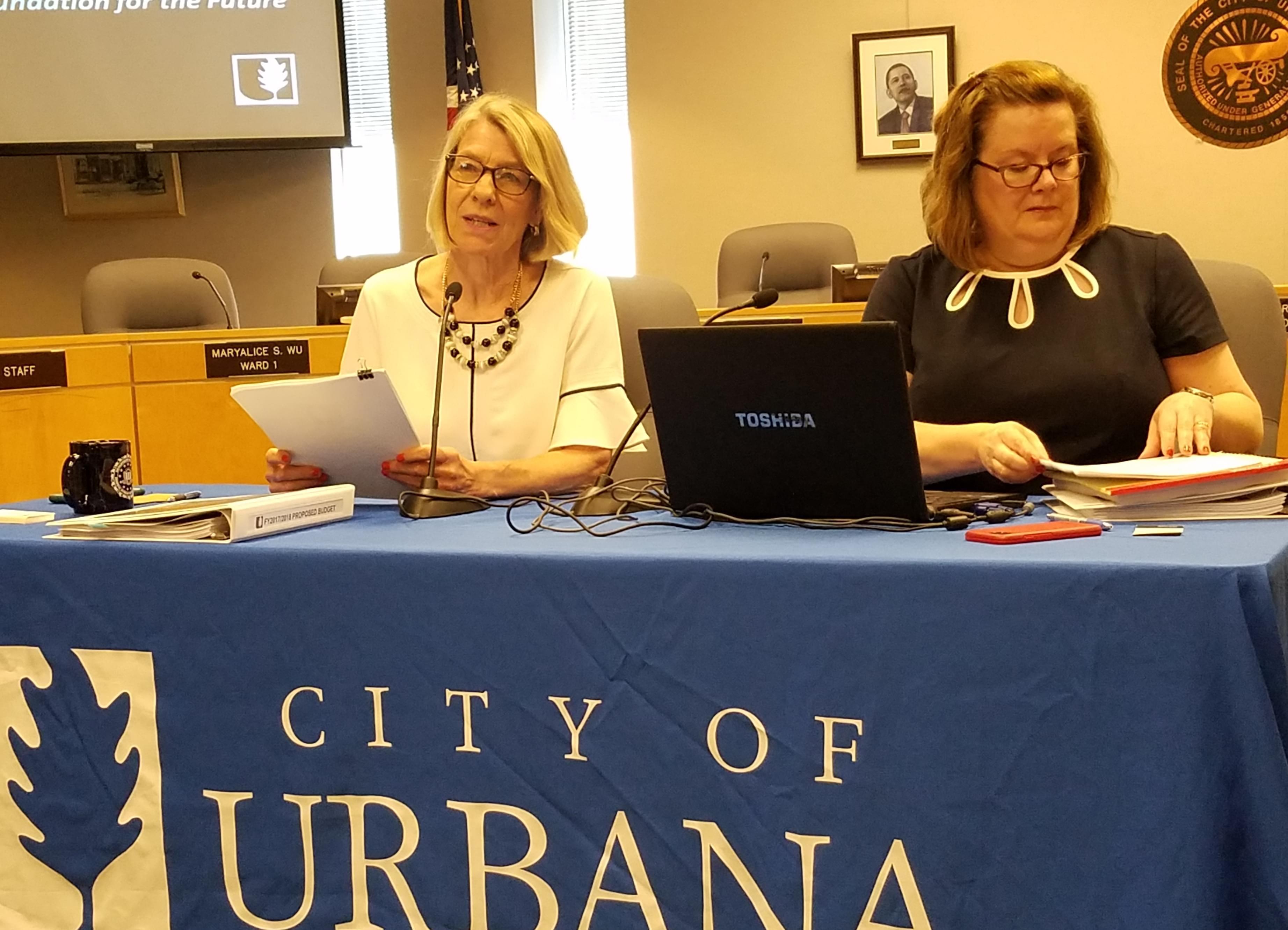 Urbana Mayor Daiane Marlin and Finance Director Elizabeth Hannan..