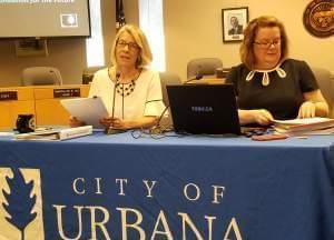 Urbana Mayor Daiane Marlin and Finance Director Elizabeth Hannan..