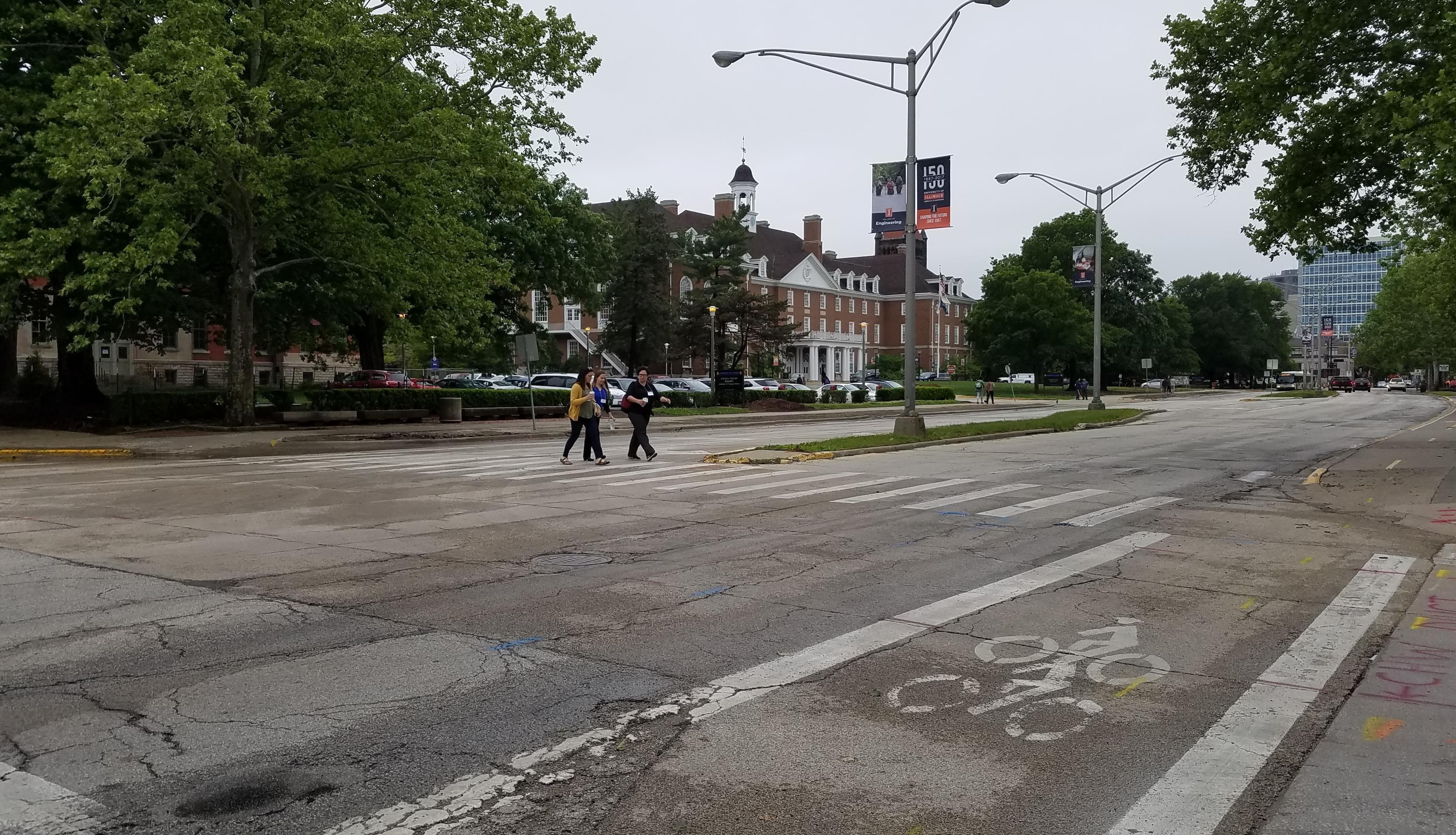A view of Green Street near Wright Street in Urbana.