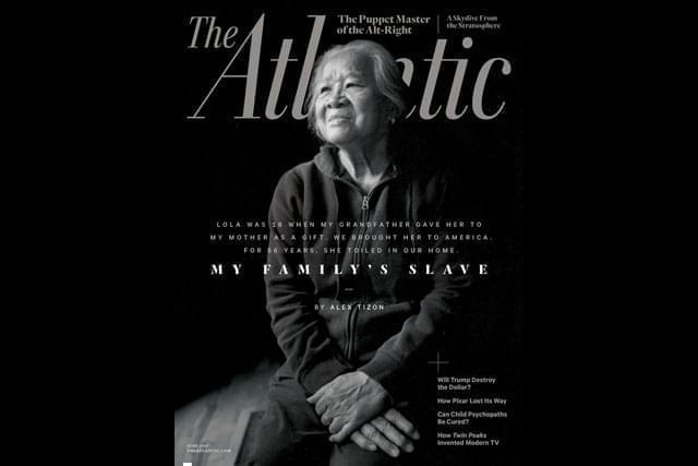 """The cover of the June 2017 issue of The Atlantic magazine featuring the story """"My Family's Slave."""""""