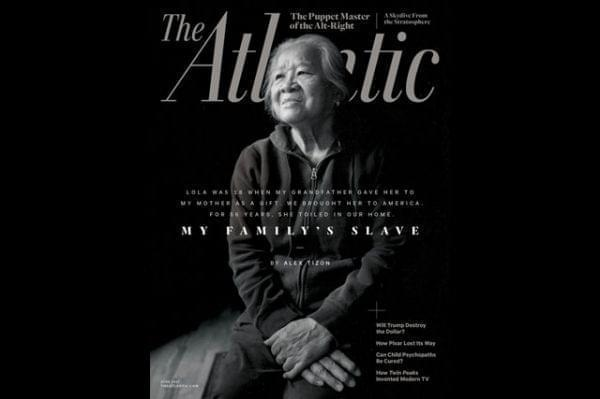 "The cover of the June 2017 issue of The Atlantic magazine featuring the story ""My Family's Slave."""