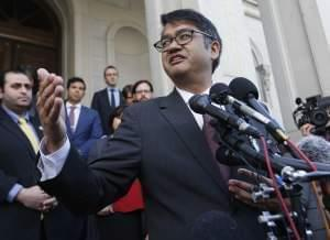 American Civil Liberties Attorney, Omar Jadwat, gestures as he speaks after a hearing before the 4th U.S. Circuit Court of Appeals in Richmond, Va.