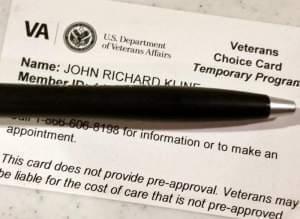 A Veterans Choice ID card.