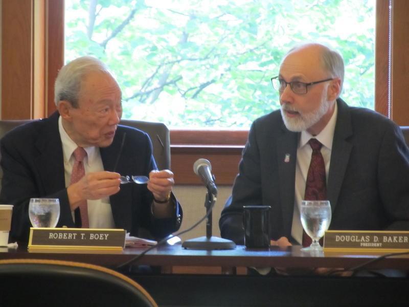 Trustee Robert Boey and NIU President Doug Baker