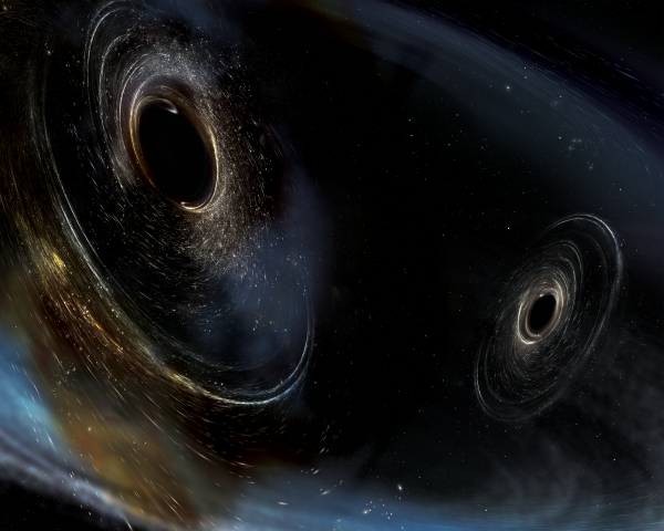 An artist's rendering of two black holes.