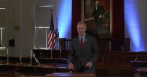 Gov. Bruce Rauner approaches a lectern Tuesday at the Old State Capitol Historic Site.