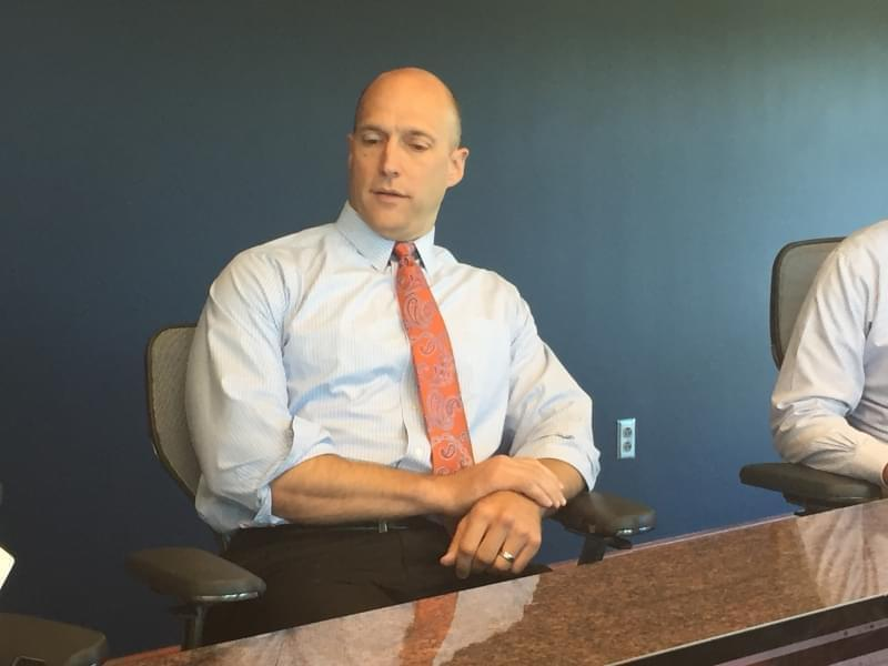 University of Illinois Athletic Director Josh Whitman talks with reporters Tuesday at the Bielfeldt Athletics Administration Building in Champaign.