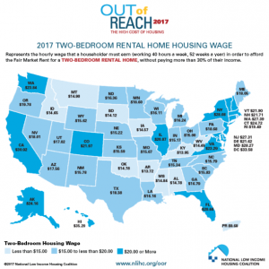 A map showing required hourly wage to afford the average two-bedroom house rental.