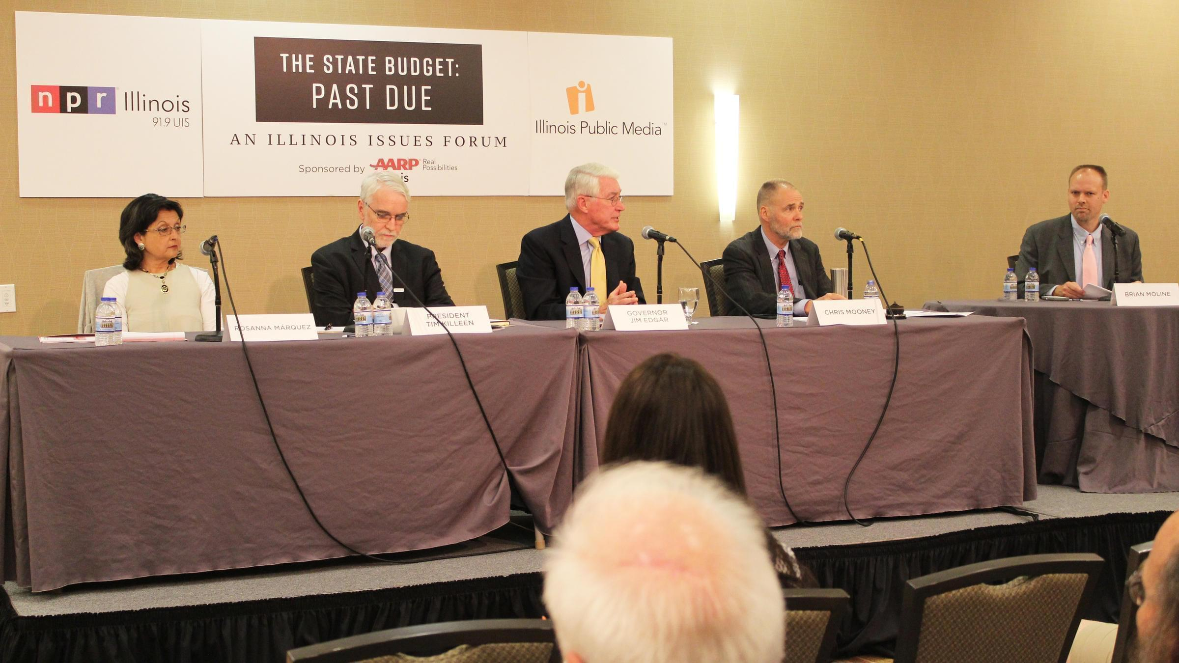 Panel at the Illinois Issues budget forum in Champaign.