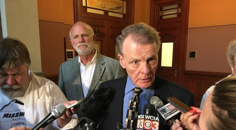 House Speaker Michael Madigan speaks with reporters after the first meeting of Illinois' four legislative leaders in six months.