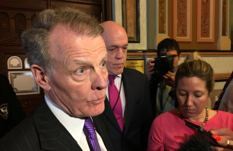 House Speaker Michael Madigan speaks with reporters after a House Democratic caucus meeting on Monday, June 26, 2017.