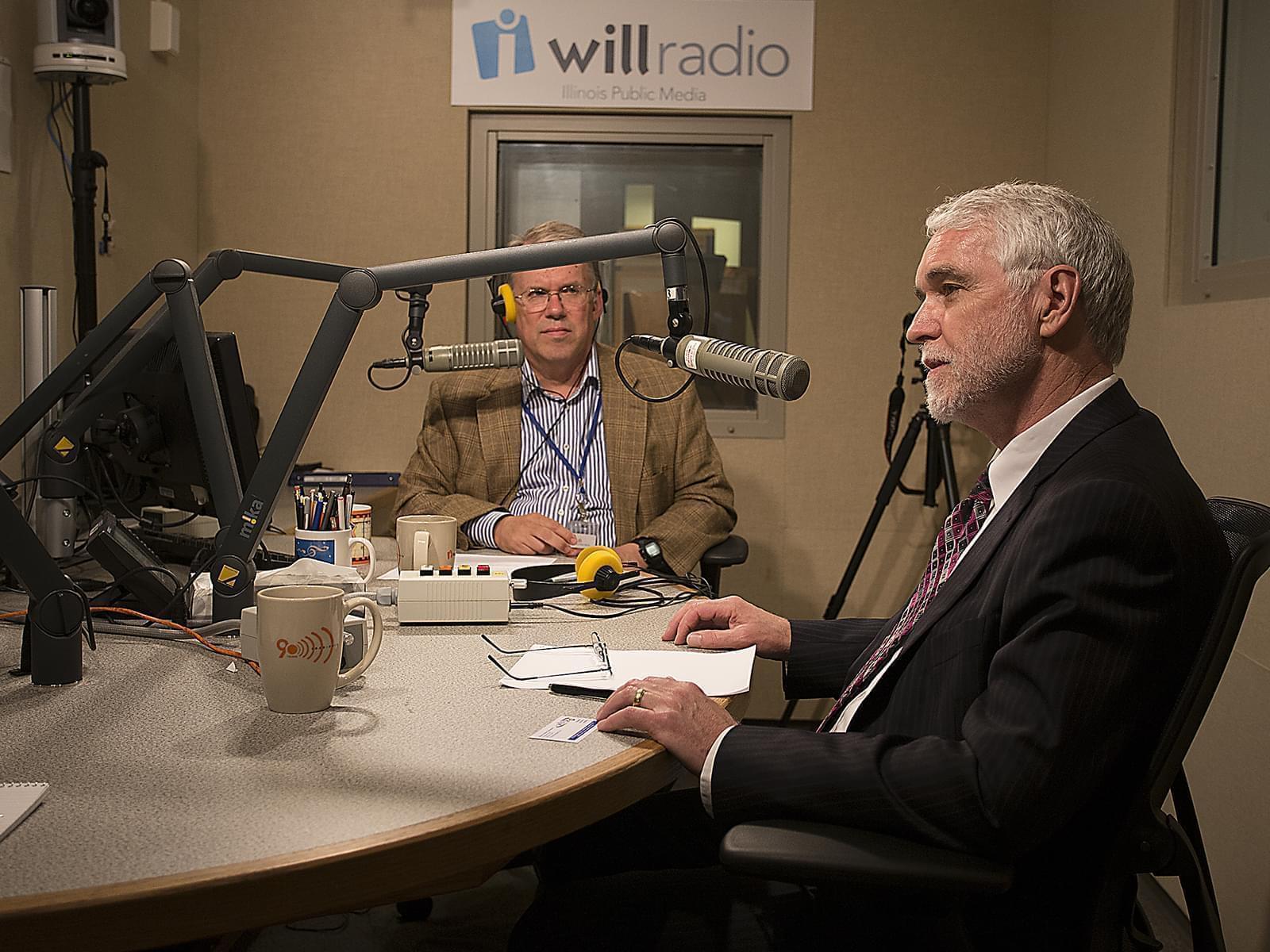 University of Illinois president Timothy Killeen, with Illinois Public Media's Jim Meadows in 2015.