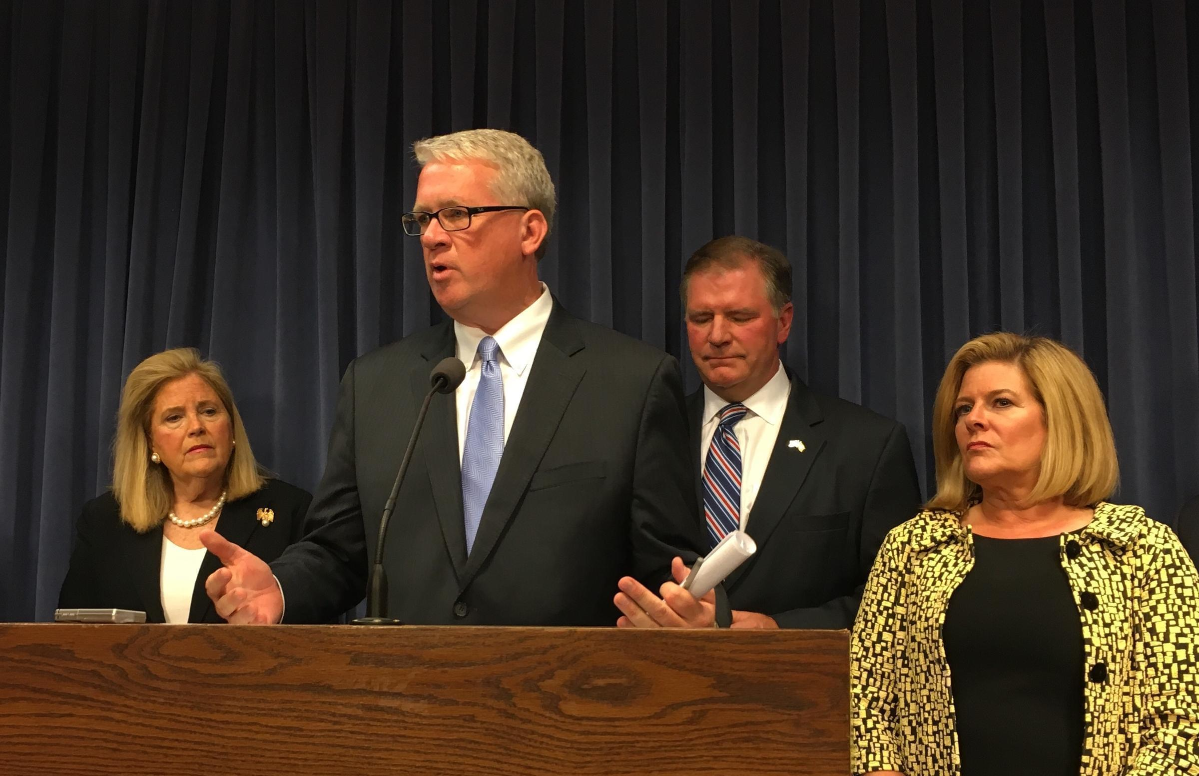 House Republican Leader Jim Durkin addresses Statehouse reporters earlier this month.