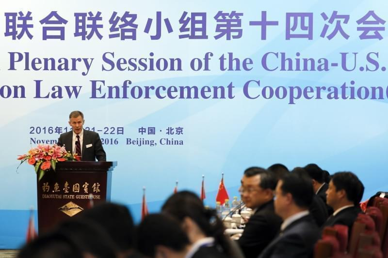 Then-Deputy Chief of Mission of U.S. Embassy Beijing David H. Rank delivers his opening remarks for the 14th Plenary Session of the China-US Joint Liaison Group on Law Enforcement Cooperation (JLG) at the Diaoyutai State Guest House in Beijing, Monda