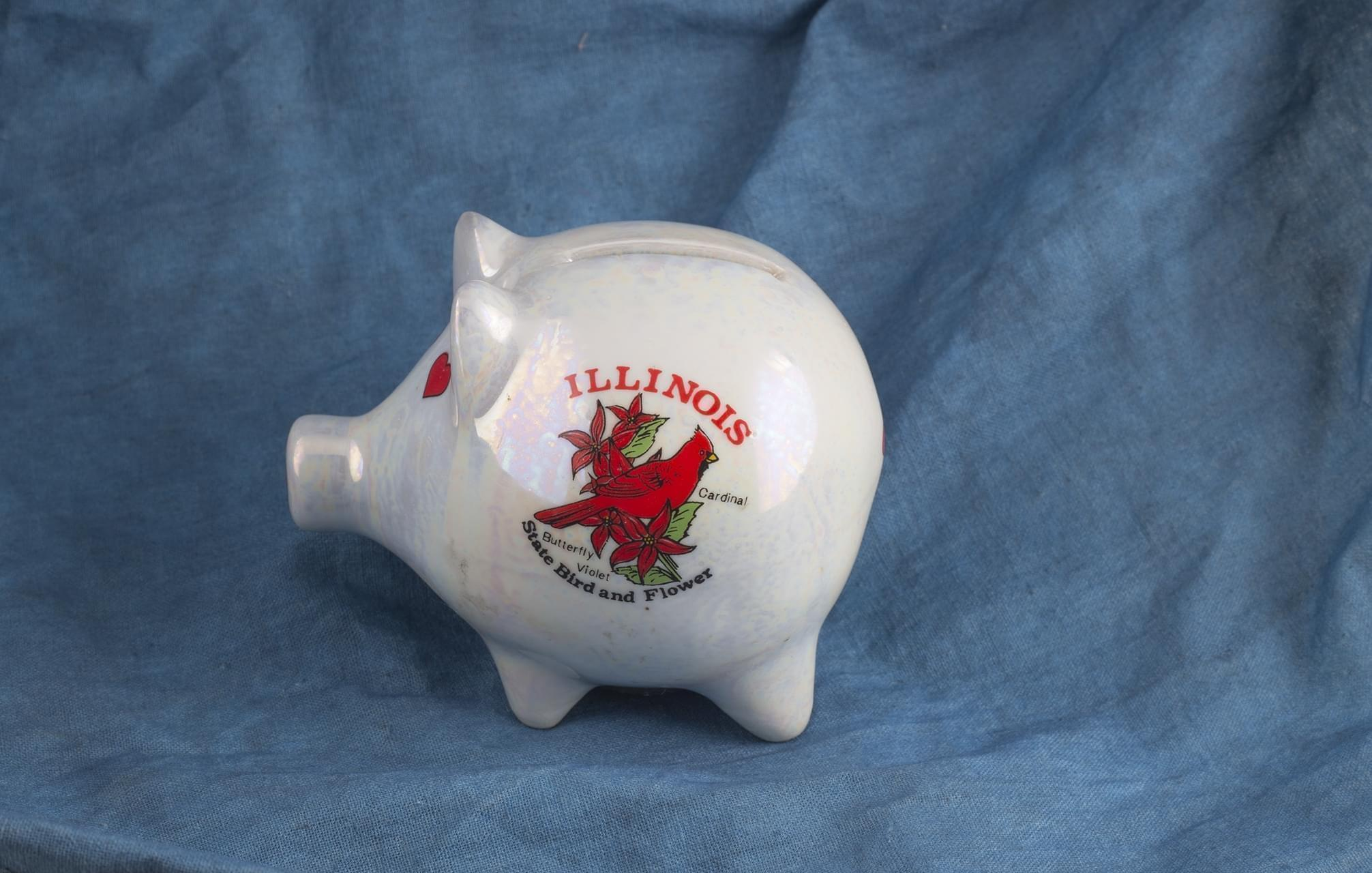 Piggy bank with Illinois state bird and flower