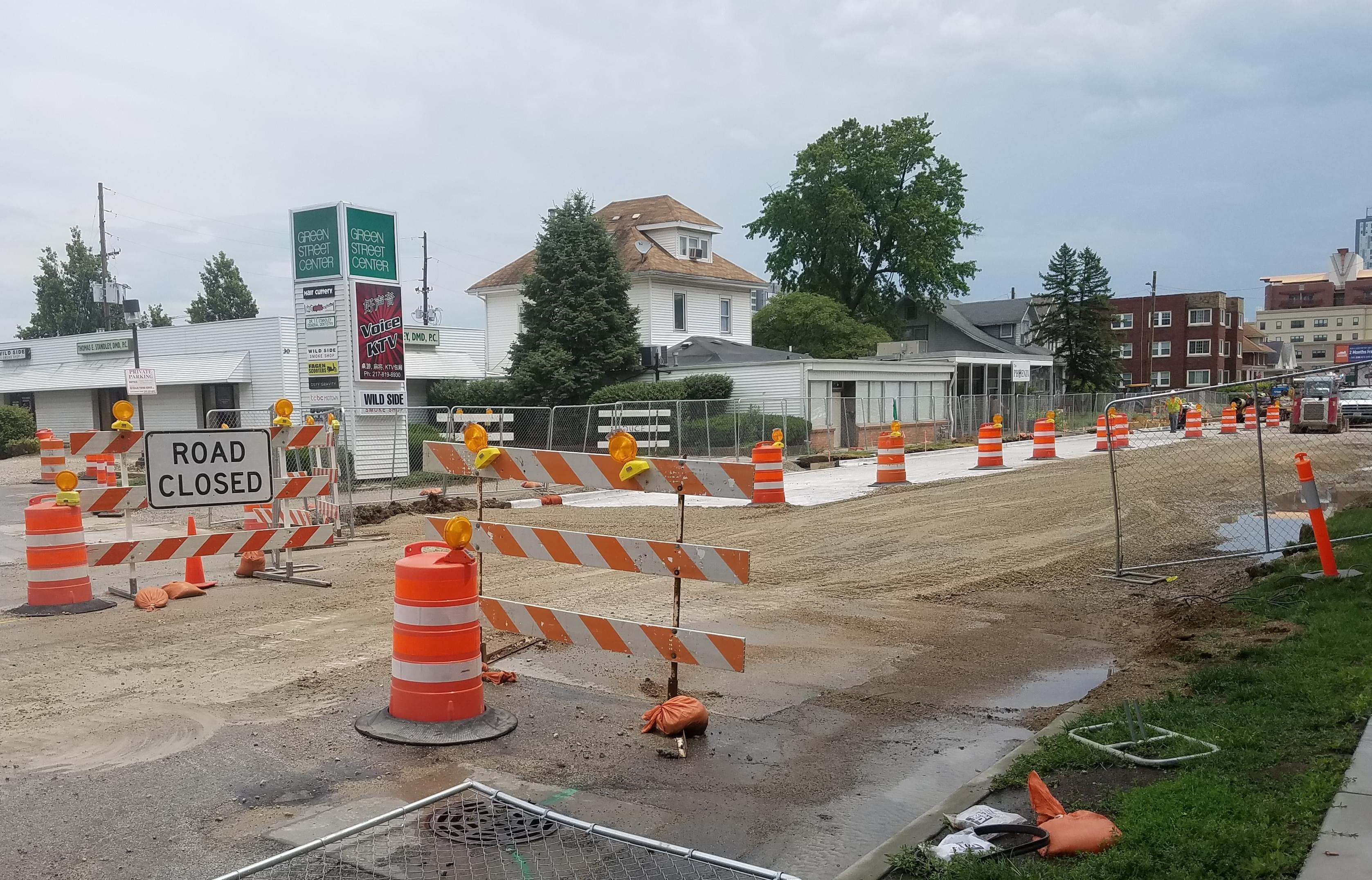 Section of Green Street in Champaign under construction for the MCORE Project.