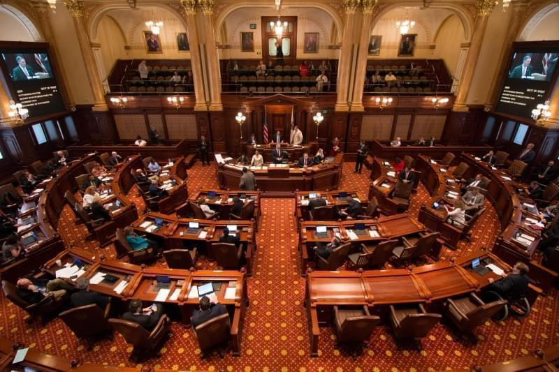 The Illinois Senate on July 4, 2017, as it was overriding Gov. Bruce Rauner's veto of Illinois' first full budget in two years.