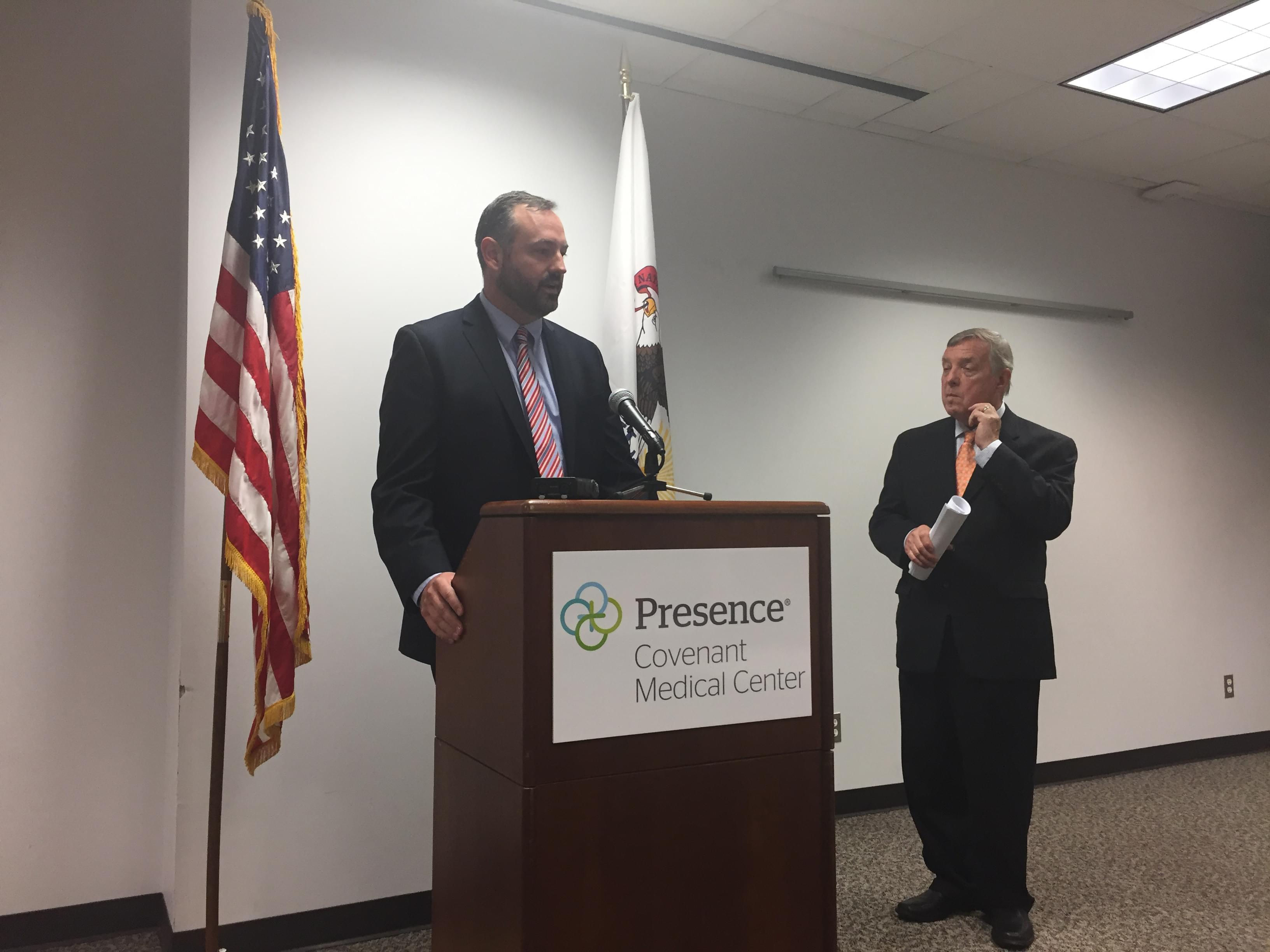 Jeremy Flynn (left) of the Illinois Health and Hospital Association with U.S. Senator Dick Durbin at a news conference in Urbana.