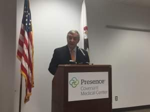 US Senator Dick Durbin speaking Thursday at a news conference at Presence Covenant Medical Center in Urbana.