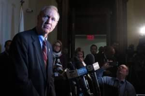 Governor Bruce Rauner taking questions from the media.
