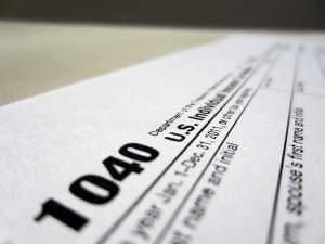 A 1040 Federal income tax form.