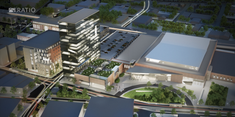A rendering of the proposed expansion of the Illinois Terminal, and a new hotel conference center to be located in downtown Champaign.