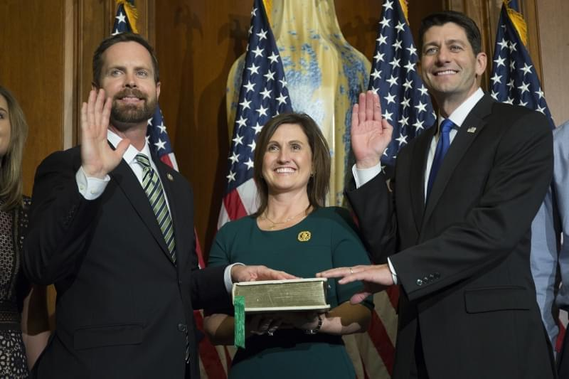 House Speaker Paul Ryan of Wis. administers the House oath of office to Rep. Rodney Davis, R-Ill., during a mock swearing in ceremony on Capitol Hill in Washington, Tuesday, Jan. 3, 2017.