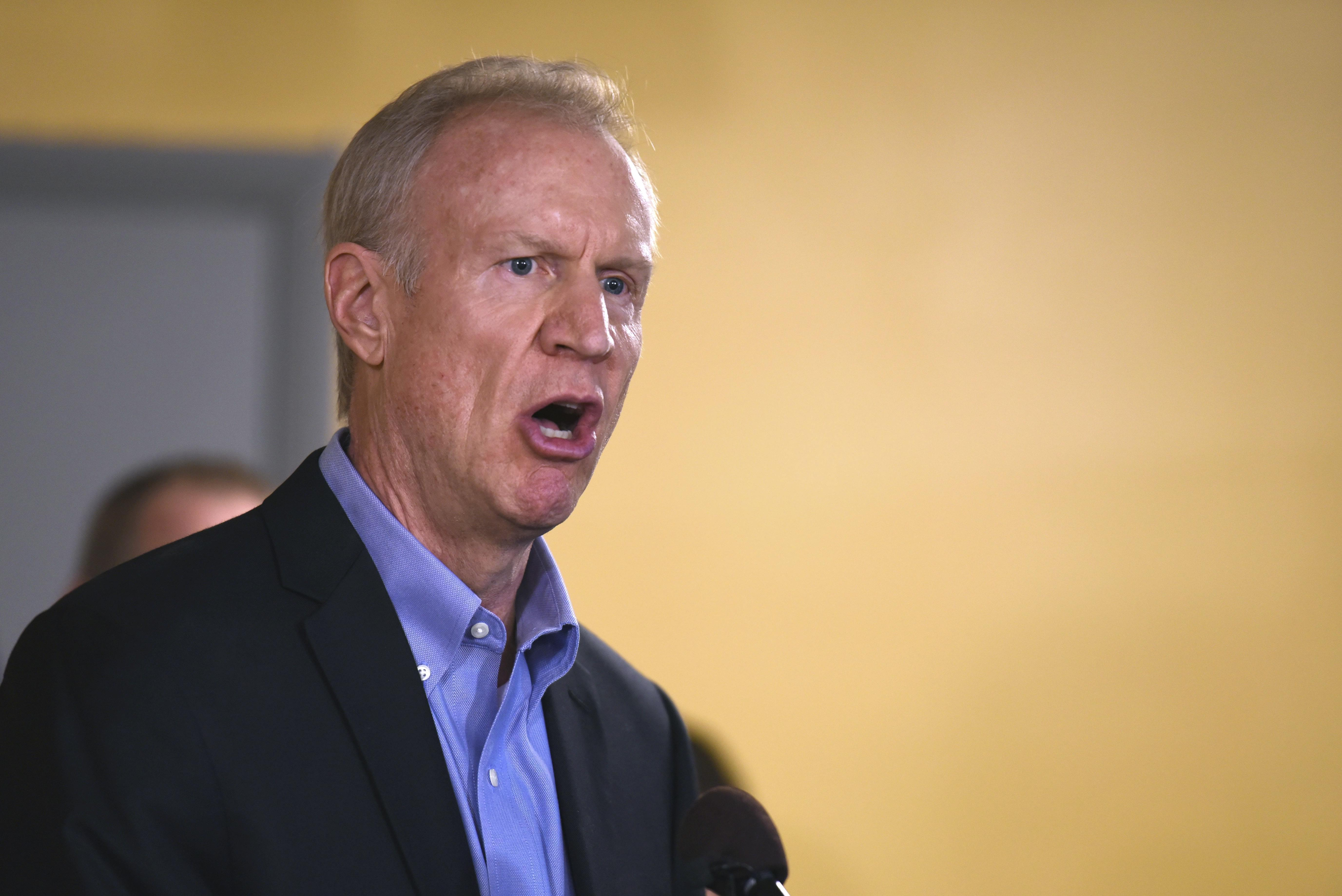Gov. Bruce Rauner speaks during a news conference on July 5, 2017 in Chicago.
