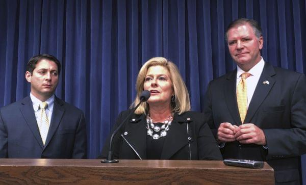 Sen. Karen McConnaughay, R-St. Charles, speaks at a news conference accompanied by Sen. Jason Barickman, R-Bloomington, right, and Sen. Bill Brady, R-Bloomington, Wednesday, May 17, 2017, in Springfield, Ill.