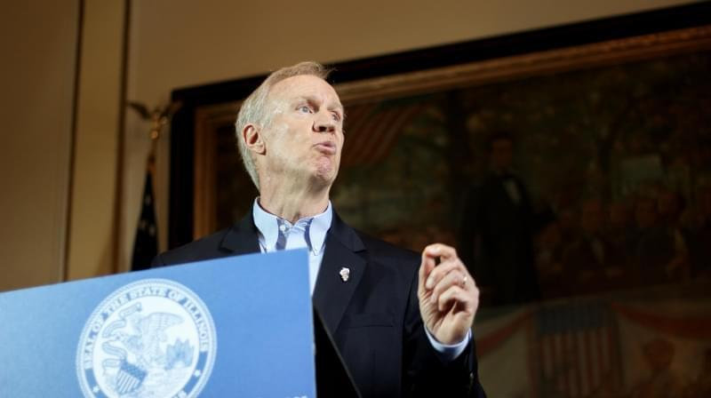Governor Bruce Rauner announces his amendatory veto of Senate Bill 1 on August 1.