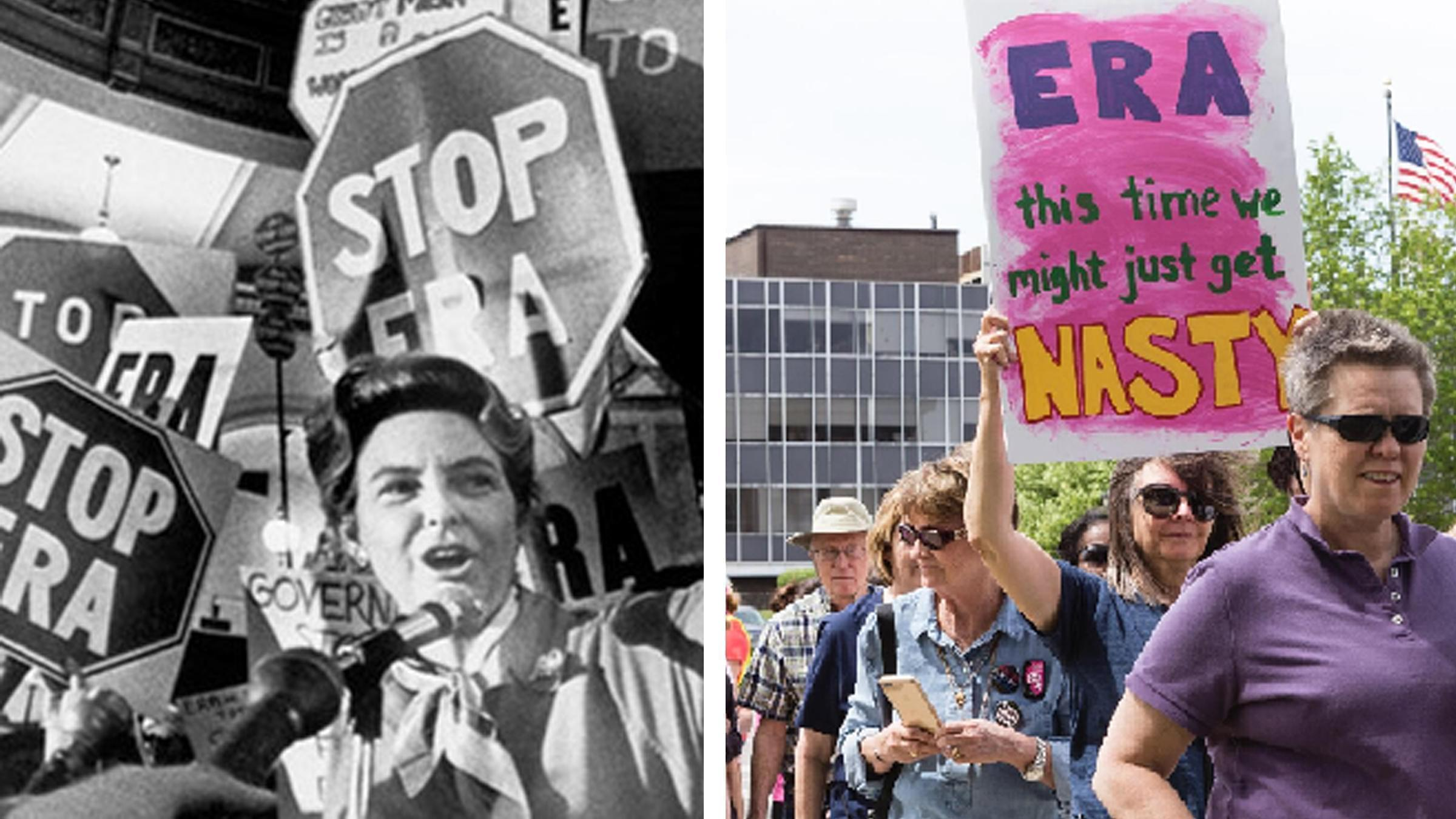 Phyllis Schlafly among her supporters who opposed the ERA; in 2017 women in support of the ERA march in Springfield