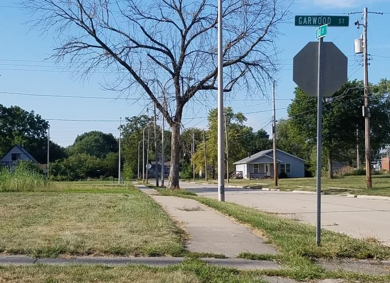 Mostly vacant lots, as seen from the corner of Garwood and Clock Streets in Bristol Place.