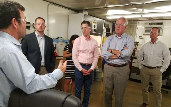 Hudson Technologies CEO Kevin Zugibe meets with visiting Congressmen John Shimkus and Rodney Davis at the Hudson plant in Champaign.