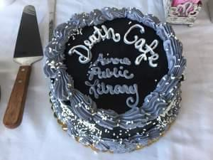 A cake served at a recent death cafe in Aurora.