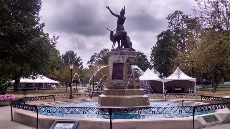 The Champaign Park District prepares West Side Park of Taste of Champaign-Urbana.