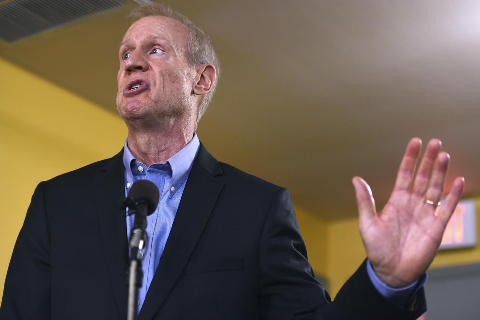 In this July 5, 2017 file photo, Illinois Gov. Bruce Rauner speaks during a news conference in Chicago.