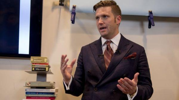 "White nationalist Richard Spencer speaks earlier this month to select media in Alexandria, Va. Spencer is head of the National Policy Institute and self-described creator of the term ""alt-right."""