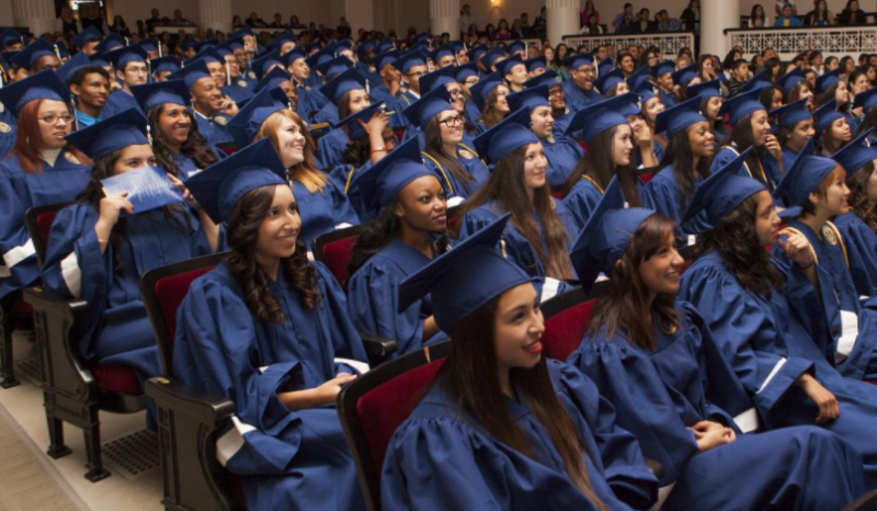 Recent graduates at Rauner College Prep in Chicago