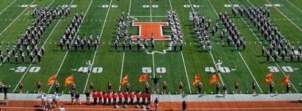 The Marching Illini performing at Memorial Stadium in Champaign.