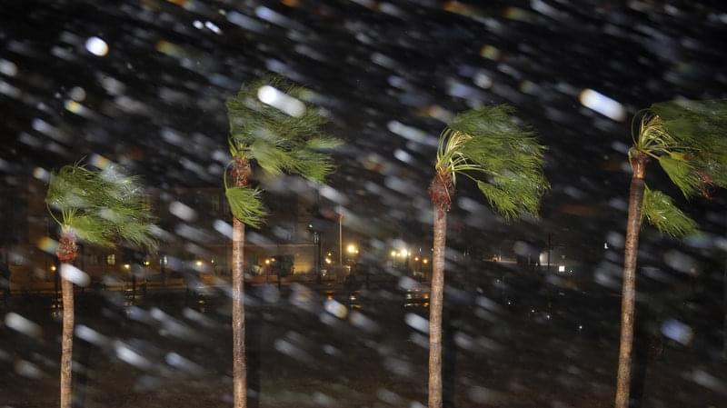 Rain is blown past palm trees as Hurricane Harvey makes landfall Friday in Corpus Christi, Texas. Harvey steered into the Texas coast with the potential for up to 3 feet of rain, 125 mph winds and 12-foot storm surges.