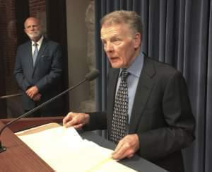 Illinois House Speaker Michael Madigan speaks at a news conference, Wednesday, Aug. 16, 2017 in Springfield, Ill.